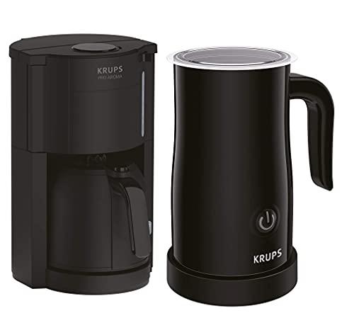 Krups Pro Aroma Filterkaffeemaschine mit Thermokanne & Milchaufschäumer, Antitropf-Funktion, bis zu 10 Tassen & 4 Stunden heiß, 1000ml Fassungsvermögen, Warmhaltefunktion, schwarz
