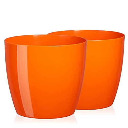 TYMAR Juego de 2 macetas de plástico modernas redondas (naranja, diámetro de 16 cm)