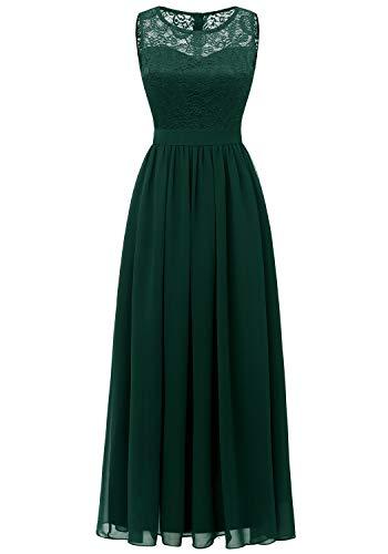 Dressystar 0046 Abendkleid Basic Chiffon Spitzen Ärmellos Brautjungfernkleider Bodenlang Grün M