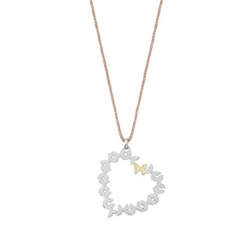 Nomination Collar Butterfly en Acero, Cobre y Detalles Oro Amarillo con Corazón Colgante. Medida: 34cm, Adaptable a 31,50cm.
