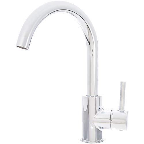 Amazon Basics - Moderner Wasserhahn für das Waschbecken, langer Hals - poliertes Chrom