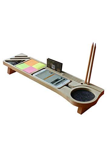 Stanley Organizador de escritorio de madera, organizador de suministros de oficina, organizador de escritorio con ranuras para teléfono, organizador de escritorio, árbol natural totalmente industrial.