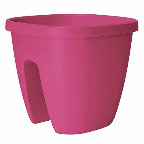 Emsa Geländertopf für Balkon, 9 Liter, Selbstbewässerungssystem, Pink Hell, City, 517659