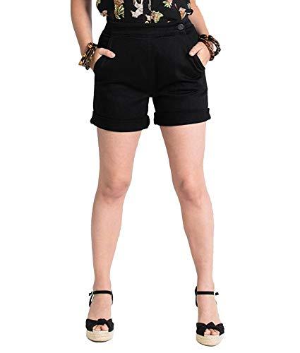 Hell Bunny Damen Shorts Yaz Denim (Black, UK 12 (M))