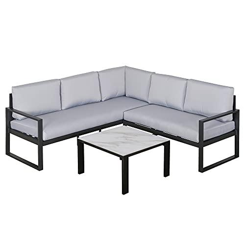 Outsunny 3-TLG. Gartengarnitur Gartenmöbel-Set Gartenset Sitzgruppe mit Couchtisch Sofa mit Kissen Outdoor Aluminium Grau