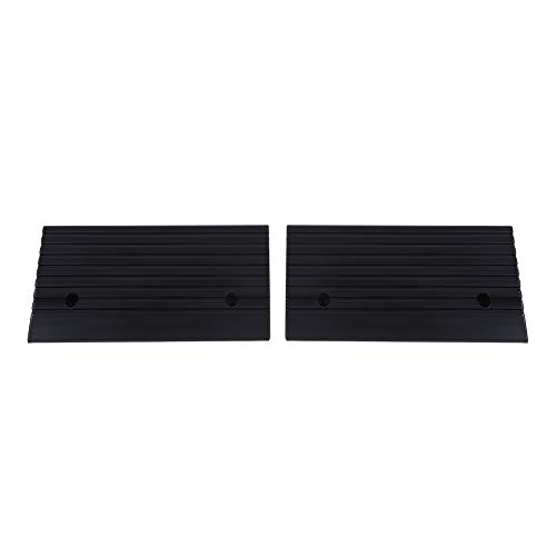 Greensen Rubber Threshold Ramp, 4in High Rubber Curb Ramps with Slip-Resistant Surface for Wheelchairs Mobility Scooters and Power Chairs, 2 Pack, Black