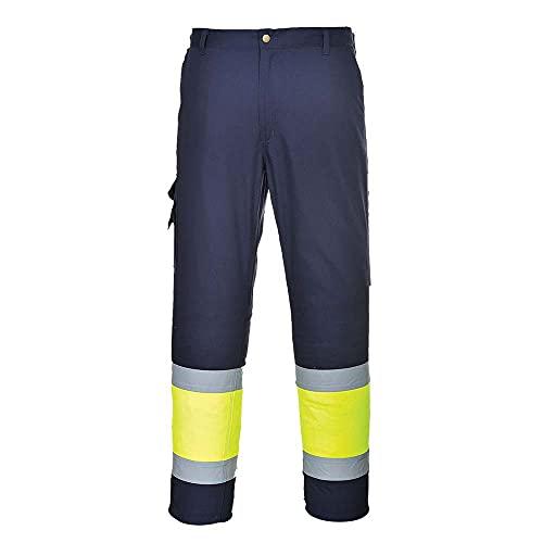 Portwest E049 Pantalone Combat Bicolore Alta Visibilità, Giallo/Navy, XL