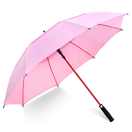 ZOMAKE Paraguas Grande Antiviento, Automático Paraguas de Golf con Doble Cubierta para Mujer Hombre(Rosa)