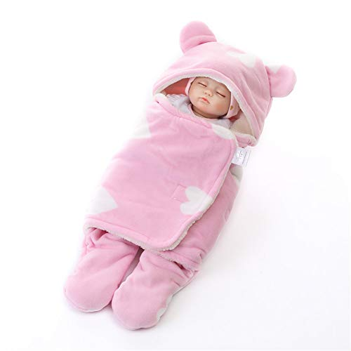 Saco De Dormir para Bebé Recién Nacido Apariencia De Oso Lindo Envoltura De Manta De Envoltura Infantil Saco De Dormir De Felpa Suave con Capucha (0-10M),Rosado