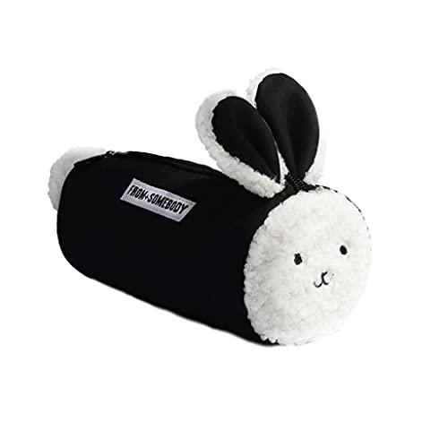 ZANZAN Estuche de lápices de peluche de gran capacidad, bolsa de almacenamiento multifuncional, bolsa de cosméticos, bolsa de cosméticos, bolsa de color negro/marrón (color: negro)
