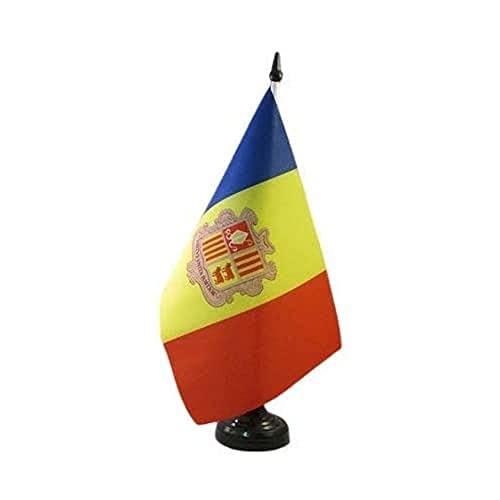 AZ FLAG TISCHFLAGGE Andorra 21x14cm - ANDORRANISCHE TISCHFAHNE 14 x 21 cm - flaggen