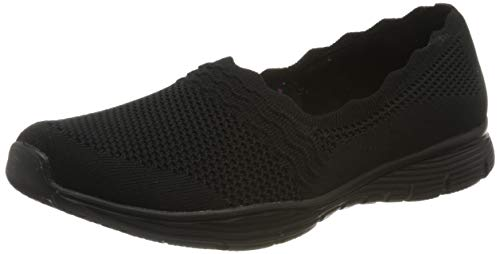 Skechers Damen Seager Sneaker, Schwarz (Black Flat Knit BBK), 41 EU
