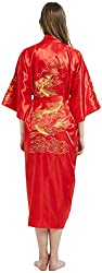 mens robe with embroidered chinese dragon red silky fabric