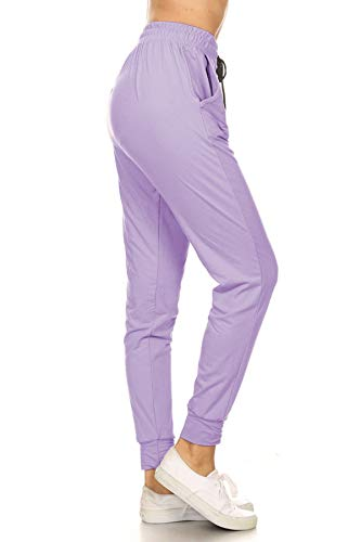 Leggings Depot JGA128-LAVENDER-L Solid Jogger Track Pants w/Pockets, Large
