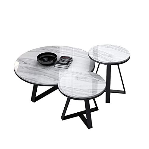 WGFGXQ Couchtisch-Set, runder Nisttisch im Wohnzimmer, moderner Marmor-Endsofa-Cocktailtisch, Wohnmöbel mit Metallrahmenbeinen