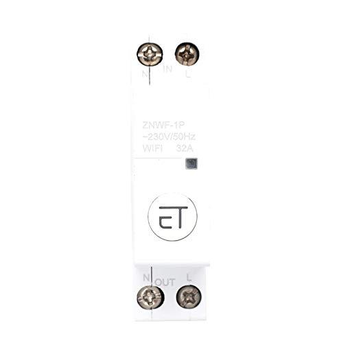 1p AC230v Ip20 Interruptor de Circuito Inteligente Wifi Interruptores de Circuito en Miniatura Interruptor de Control Remoto para Caja de Distribución(1p 32a)