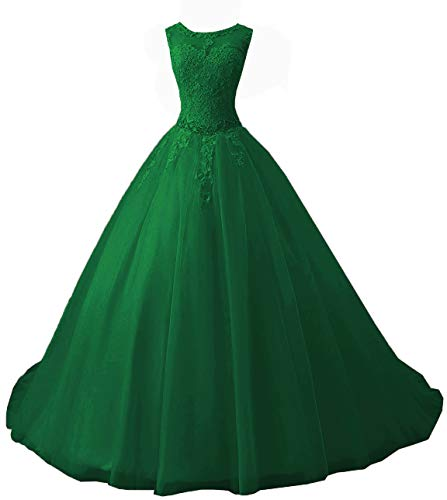 OkayBridal Women's Sleeveless Dress Lace s Ball Gown Long Prom Dress Plus Size