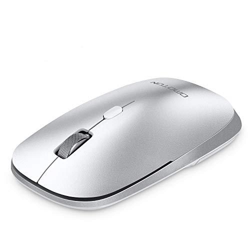 OMOTON Ratón Bluetooth sin Receptor USB,Ratón Inalámbrico Bluetooth 5.0/3.0,Ratón Silencioso,Ligero y Portátil,Ultra-Fino y Preciso,Ratón 1600 dpi para Portátil, PC y Mac Series/iPadOS/Windows,Plata