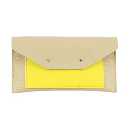 Minkissy PU lederen bril zak zonnebril opbergtas bril reistas leesbril zachte zak penhouder houder voor op reis (geel)