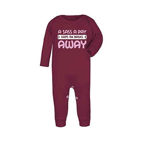 Sass a Day Keep The Basics Away (Pink Glitter) - Mono de bebé con pies, 0-3 meses, marrón