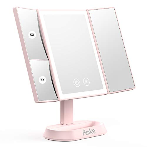 AMKE [Latest 2020] Makeup 60 Led Vanity Mirror with Lights, 1x 5X 7X Magnification, Touch Screen Switch, 90 Degree Rotation, Dual Power Supply, Portable Trifold Beauty Makeup Mirror (Pink)