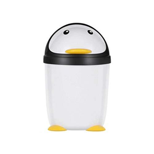 Pingüino Bote de basura con tapa Creative Dibujos animados de escritorio Contenedor de basura Papelera de contenedores para la sala de estar de la cocina Papelera de residuos al aire libre