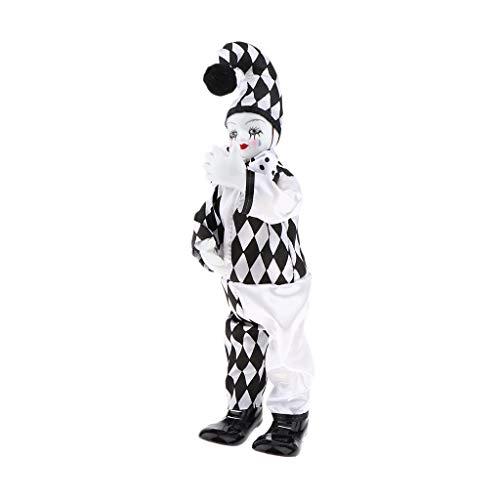 Perfeclan Miniatur Porzellan Puppen Clown Figur Harlekin Zirkus Puppe im Bunte Outfit Spielzeug Dekoration - A- 36 cm