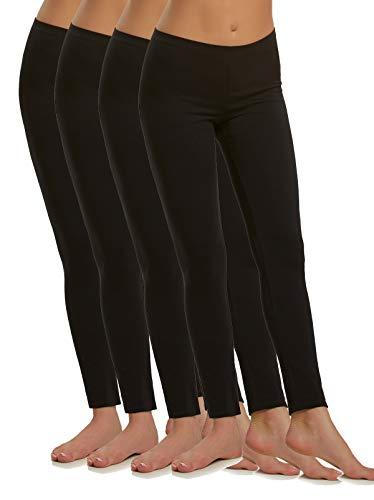 Felina | Cotton Modal Lightweight Legging | 4-Pack | Yoga Pants | Mid Rise (Black, Large)