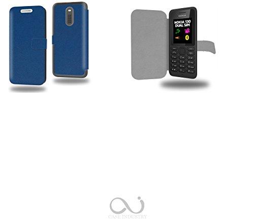 Bleu Marine Collection Exception Custodia Pelle Ultra Slim per Nokia 130 smartphone - Flip Case Funda Cover protettiva Nokia 130 PU Pelle - CASE Industry accessori