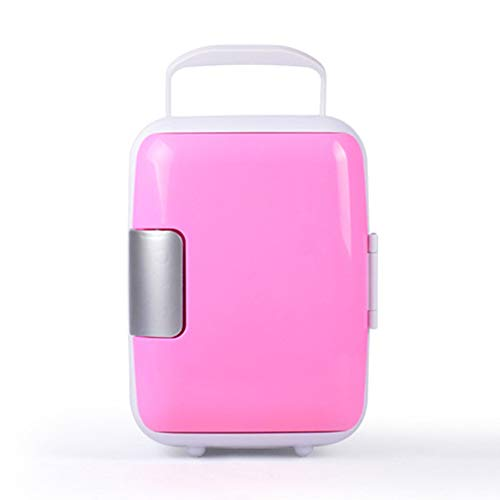 FAPROL Gefrierschrank Klein Mini Kühler Autokühlschrank Minimale Kühlwirkung 4 ℃ Campingkühlschrank Kleiner Gefrierschrank Reise Make-up Kühlbox Pink/Car