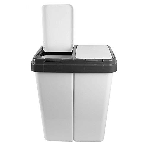 Alpfa Mülleimer 2x25 Liter Abfalleimer Duo Bin (Weiß)