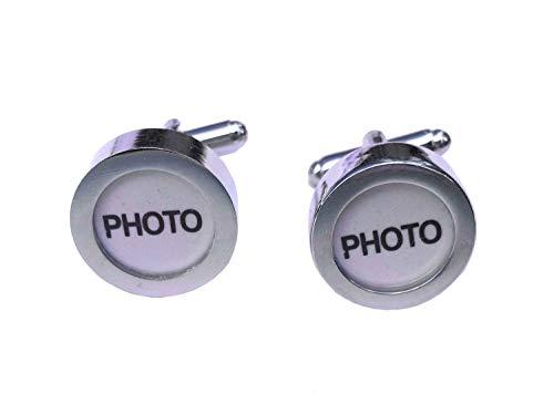 Miniblings Votre Propre Photo personnalisé Boutons de Manchette - Boutons de Chemise à la Main I Boutons de Manchette Je Belle boîte en Bois Inclus -