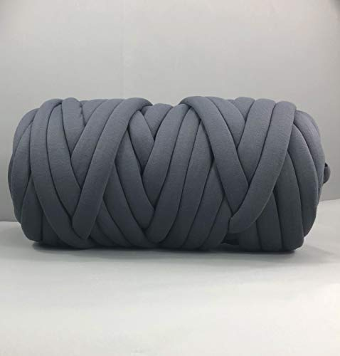 clootess Arm Knitting Yarn Chunky Braid Cotton Yarn for Handmade DIY Throw Blanket Pet Bed and Crib Bumper,Machine Washable,Dark Gray 8 lbs