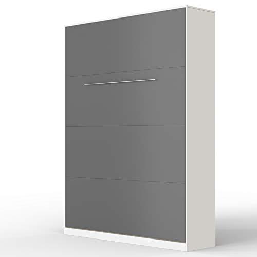SMARTBett Standard 140x200cm Vertical Blanco/Antracita Cómodo | Cama Abatible, Cama De Pared, Cama Plegable, Cama Oculta