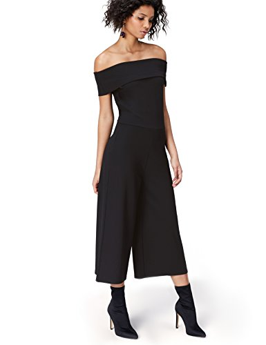 Marchio Amazon - find. Maxi Tuta con Scollo Bardot Donna, Nero (Schwarz), 40, Label: XS