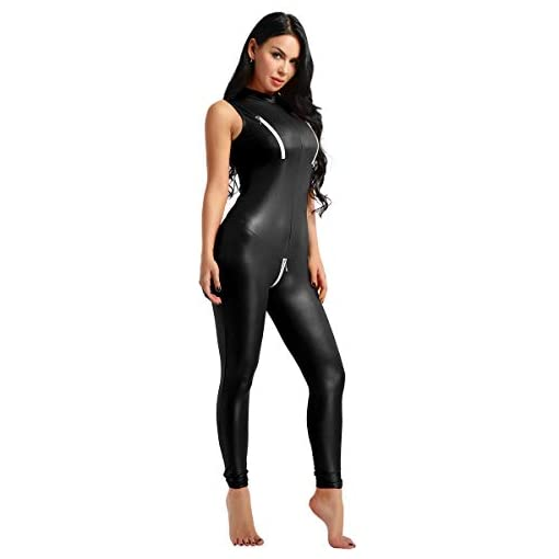 ACSUSS Women's Sexy PU Leather Sleeveless Double Zipper Bust Crotchless Jumpsuit Catsuit
