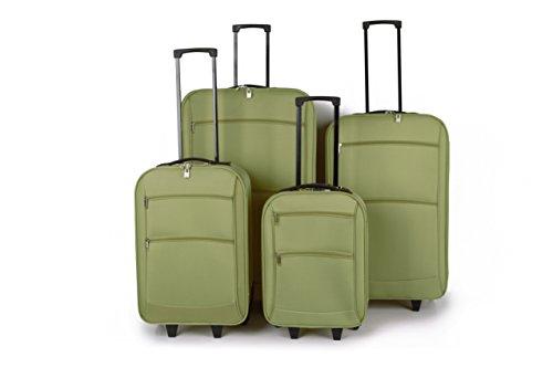 Tourer quattro pezzi set di trolley che comprendono i casi più cabina 32, 28 e 22 pollici di dimensioni caso 19 pollici (Verde)