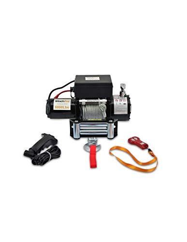 WinchPro - Cabrestante Eléctrico 12V 2700kg/6000lbs, 24m De Cuerda De Acero, 2...