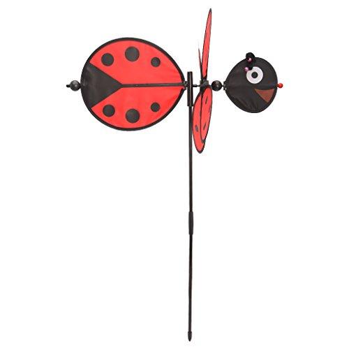 ECMQS Große 3D Biene Windmühle Kinder Spielzeug, Garten Dekoration Ornament bunt Draußen Wind Spinner, 1 STÜCK (Rot)