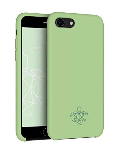 turtleandcase Funda compatible con iPhone 7, 8 y iPhone SE, cristal blindado gratis, funda fina de silicona y resistente a los golpes para iPhone 7, 8 y iPhone SE de 5,4 pulgadas (verde matcha)
