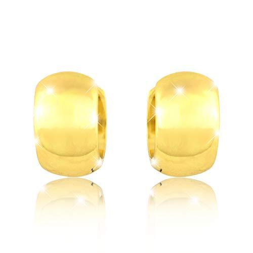 PAVEL'S Ohrringe Creolen BRIGHT 18 Karat Gold plattiert für Damen breit im klassischem Design inkl. einer hochwertigen Schmuckbox und Zertifikat
