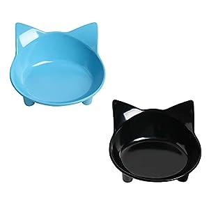 Katzennapf Katzenfutter Napf rutschfeste Haustier Futternapf Flache Katze Wassernäpfe Fütterung breite Schalen um Stress… 3