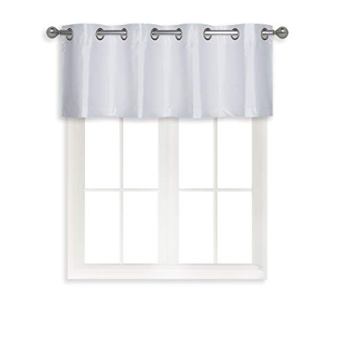 Home Queen Grommet Curtain Valance Window Treatment for Living Room, Short Straight Drape Valance, Set of 1, 52 W X 18 L Inch, White