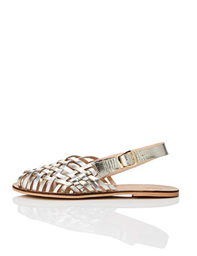 find. Woven Leather Sandalias de Talón Abierto, Dorado Metallic, 41 EU