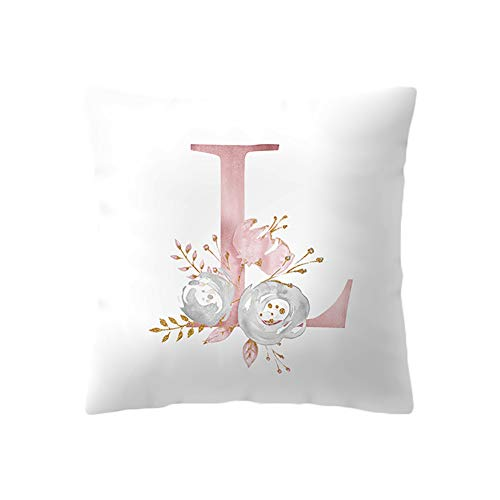 BIGBOBA Kreativ Brief Kissenbezug mit Blumenmuster Pillowcase Sofa Kissen Englisch Alphabet Kissenbezüge Dekorativer Kissenbezug 45cm*45cm (L)