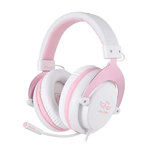 SADES [Angel Edition] MPOWER Gaming-Headset mit 3,5 mm Klinke, Over-Ear-Headset mit ausziehbarem Mikrofon, Geräuschunterdrückung, für PC, Smartphones, Tablets, Laptops, Nintendo Switch, PS4 (Rosa)