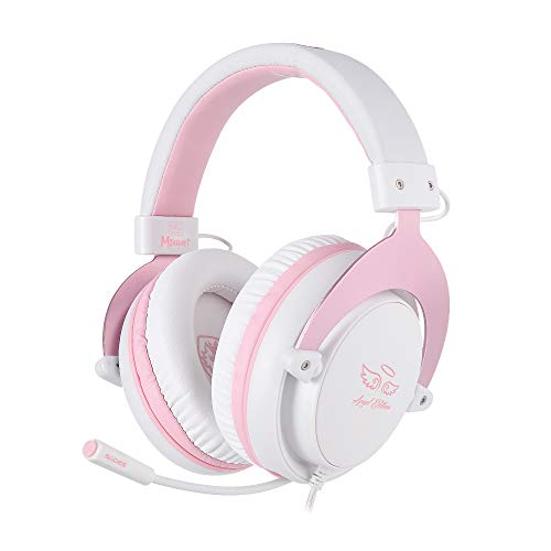 SADES [ANGEL Edition] MPOWER Casque de gaming avec jack 3,5 mm pour PC, smartphones, tablettes, ordinateurs portables, Nintendo Switch, PS4 (Rose)