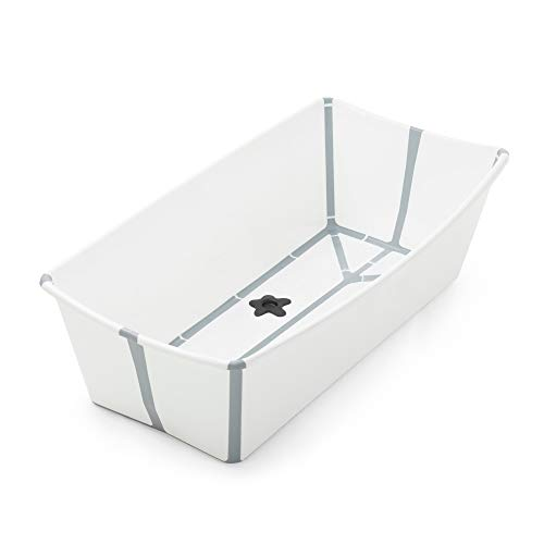 Stokke Flexi Bath X-Large, White - Spacious Foldable Baby Bathtub - Lightweight & Easy to Store - Convenient to Use at Home or Traveling - Best for Ages 0-6