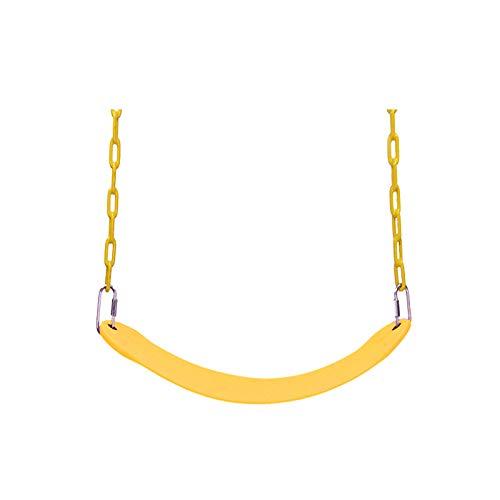 Asiento oscilante de alta resistencia-Accesorios de columpio reemplazo de asiento oscilante con cadena recubierta de plástico para fácil instalación-amarillo-para niñas y niños adultos de jardín