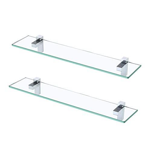 KES Estanteria Baño Estante Vidrio Baño 8MM Grueso Cristal Templado 2 Piezas Estantería de Cristal Ducha 60CM Pared Acabado Pulido, BGS3201S60-P2 🔥